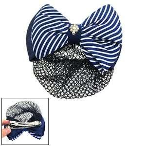 White Striped Bow Barrette Hair Clip Snood Net