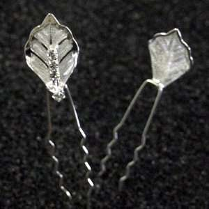 Leaf with Crystal Center Hair Pins Sticks [PACK OF 6]