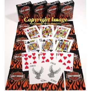 Harley Davidson Flames Bicycle Playing Cards _ Bundle of 4