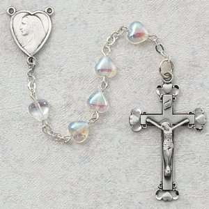 Crystal Aurora Heart Glass Rosary w/ Sterling Silver Crucifix & Center