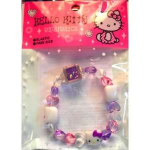 Hello Kitty Beaded Heart Bracelet Watch   Purple and Pink  Toys