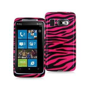 HTC SURROUND T8788 BLACK HOT PINK ZEBRA PATTERN CASE Cell