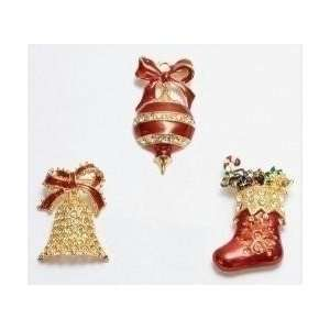 of 36 Christmas Jewelry Bell/Ornament/Stocking Shaped Holiday Pins
