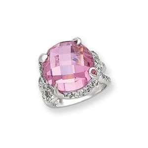 Pink Clear CZ Ring in Sterling Silver Jewelry