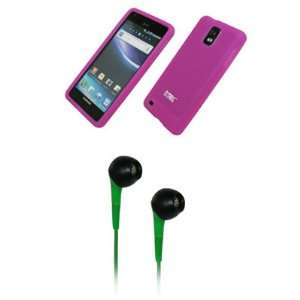 EMPIRE Hot Pink Silicone Skin Cover Case + Green 3.5mm