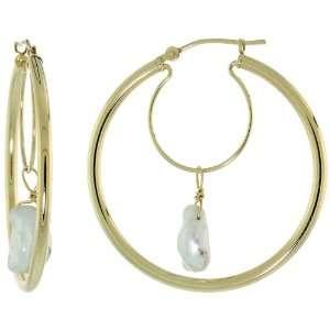 14k Gold Large Hoop Earrings w/ White Pearls, 1 3/8 in