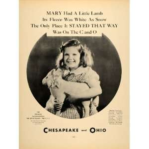 1934 Ad Mary Chesapeake Ohio Laundry Girl Nursery Rhyme