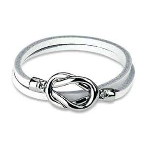 Steel Knot Double Wrap Leather Bracelet (White) West