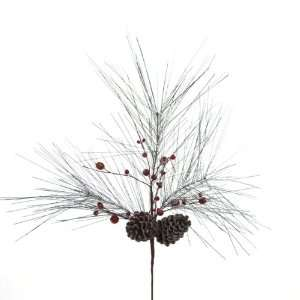 Pack of 6 Rustic Lodge nature Brown Pine Cone With berries Christmas