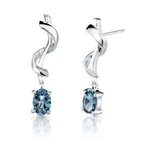 00 Carats Oval Cut London Blue Topaz Earrings in Sterling Silver