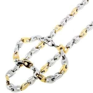 Steel Gold Silver Tone A Link Men Bracelet Chain Set Jewelry