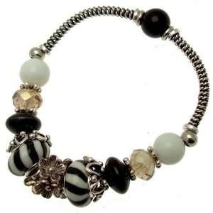 Glass and Crystal Beads   Charm Bracelet (Stretch Design) Jewelry