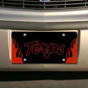 NCAA Maryland Terrapins Black Mirrored Flame License Plate
