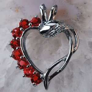 Silver and Crystal Open Heart Pendant and Silver Necklace