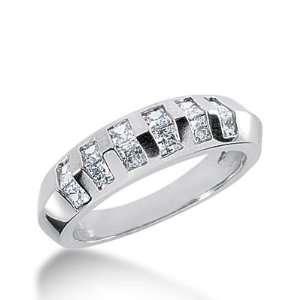 18k Gold Diamond Anniversary Wedding Ring 12 Princess Cut