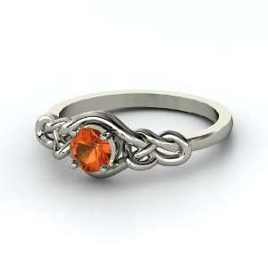 Sailors Knot Ring, Round Fire Opal Palladium Ring Jewelry
