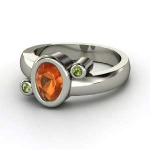 Planets Ring, Oval Fire Opal 14K White Gold Ring with Green Tourmaline