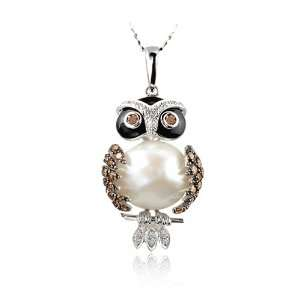 14K White Gold Diamond, Pearl & Gemstone Owl Necklace Jewelry
