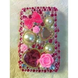 Flowers and Hearts with a Pink Bow 3D Bling Rhinestone Diamante 1 part
