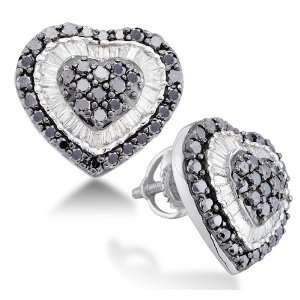 Micro Pave Set Round & White and Black Diamond Heart Stud Earrings