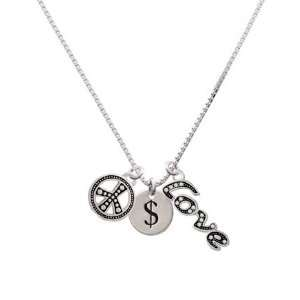 $   Dollar Sign   1/2 Disc, Peace, Love Charm Necklace