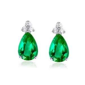 75Ct Pear Cut Emerald & Diamond Hanging Earrings 14K Gold Jewelry