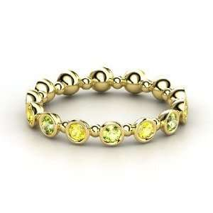 Pod Eternity Band, 14K Yellow Gold Ring with Peridot & Yellow Sapphire