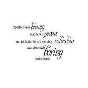 Marilyn Monroe Imperfection Vinyl Wall sayings quotes Lettering Decal