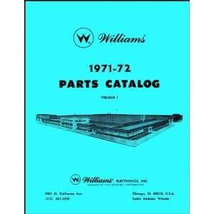 1971 72 Williams Pinball Machine Coin Op Game Parts Manual