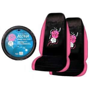 Pink Seat Covers and 1 Comfort Grip Steering Wheel Cover Automotive