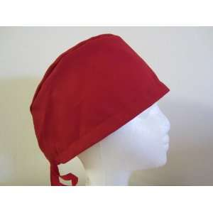 Mens Scrub Cap, Surgical Hat, Red Solid