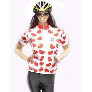 Astek Womens Short Sleeve White Red Heart Polka Dots