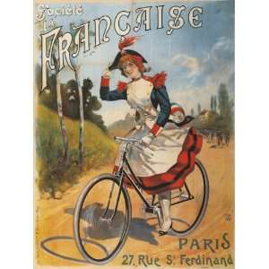 Bicycle Bike Cycles Lady Riding Francaise Paris RUE Ferdinand French