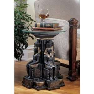 Egyptian Statue/ Isis Goddess Sculpture Statue Glass topped Side Table