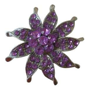 Large Light Purple Gem Flower Pin (2 Inch) Jewelry