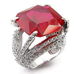 Sterling Silver Big Red CZ Solitaire Ring Jewelry