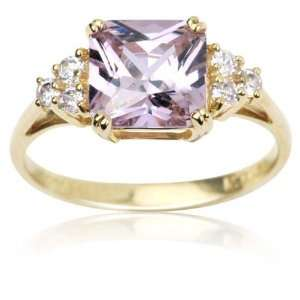 10k Yellow Gold and Square Cut Pink Cubic Zirconia Pretty