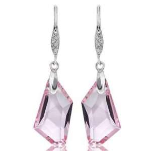 Pink Crystal 925 Silver Earrings Used Swarovski Crystals