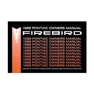 1988 PONTIAC FIREBIRD TRANS AM Owners Manual User Guide