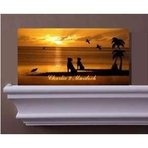 Personalized Name & Dog Breed Canvas Art Sunset Island