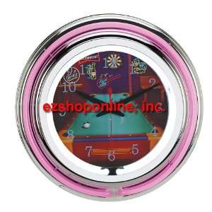 Sports Mania Snooker Theme Double Neon Clock: Home & Kitchen
