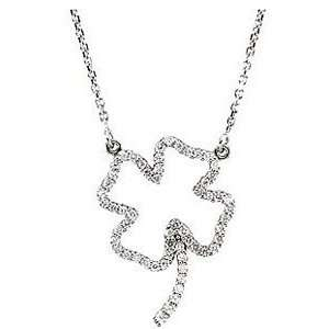 Lucky Diamond Four Leaf Clover Pendant in 14k White Gold Jewelry