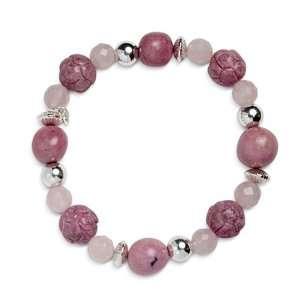 Mesa Rosa Pink Roses Beaded Stretch Bracelet Jewelry