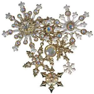 Kirks Folly Flurries Pin Snowflake Brooch Goldtone Signed
