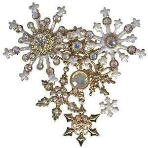 Kirks Folly Flurries Pin Snowflake Brooch Goldtone Signed