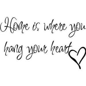 Home Is Where You Hang Your Heart Wall Quote, Wall Words