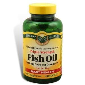 Spring Valley   Fish Oil 1400 mg, Triple Strength, Natural Enteric, 60