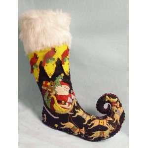 New World Arts black Christmas stocking with Santa Claus, sleigh and