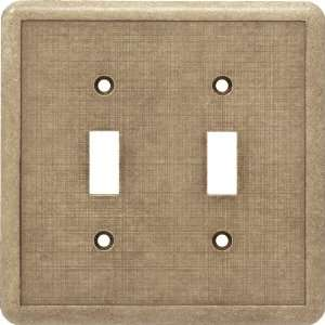 CAST STONE DOUBLE TOGGLE SWITCH PLATE BRITISH TAN