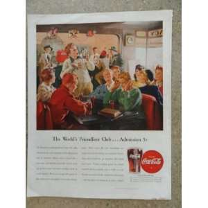 Coca Cola, Vintage 40s full page print ad. (Soda Fountain/kids having